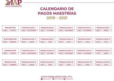 CALENDARIO DE PAGOS MAESTRÍAS 2019