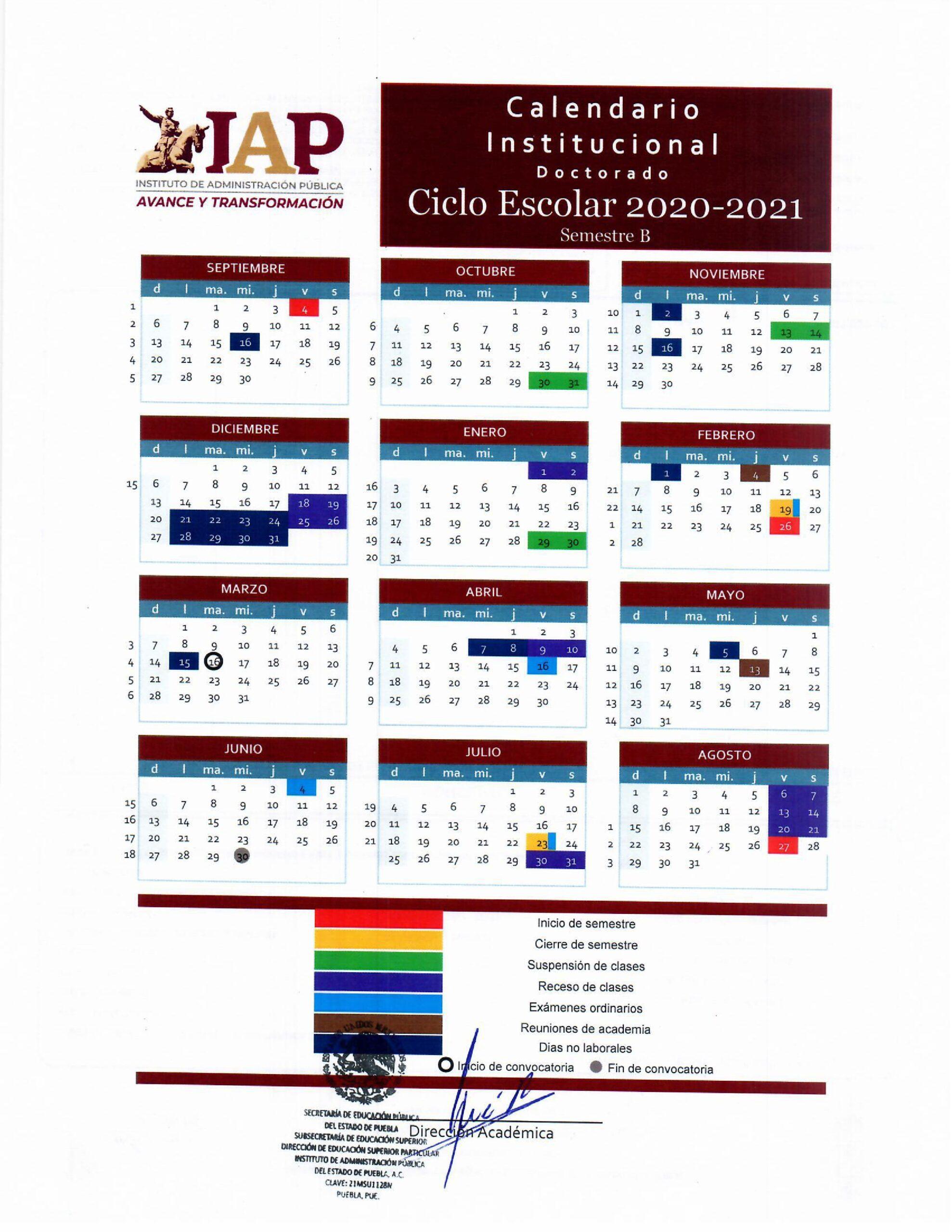 Calendario Doctorado 2020-2021